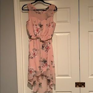 NWT high low pink dress with belt